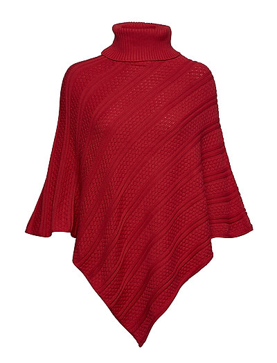 Poncho with collar - RED