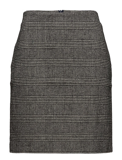 Skirt, wool check - GREY