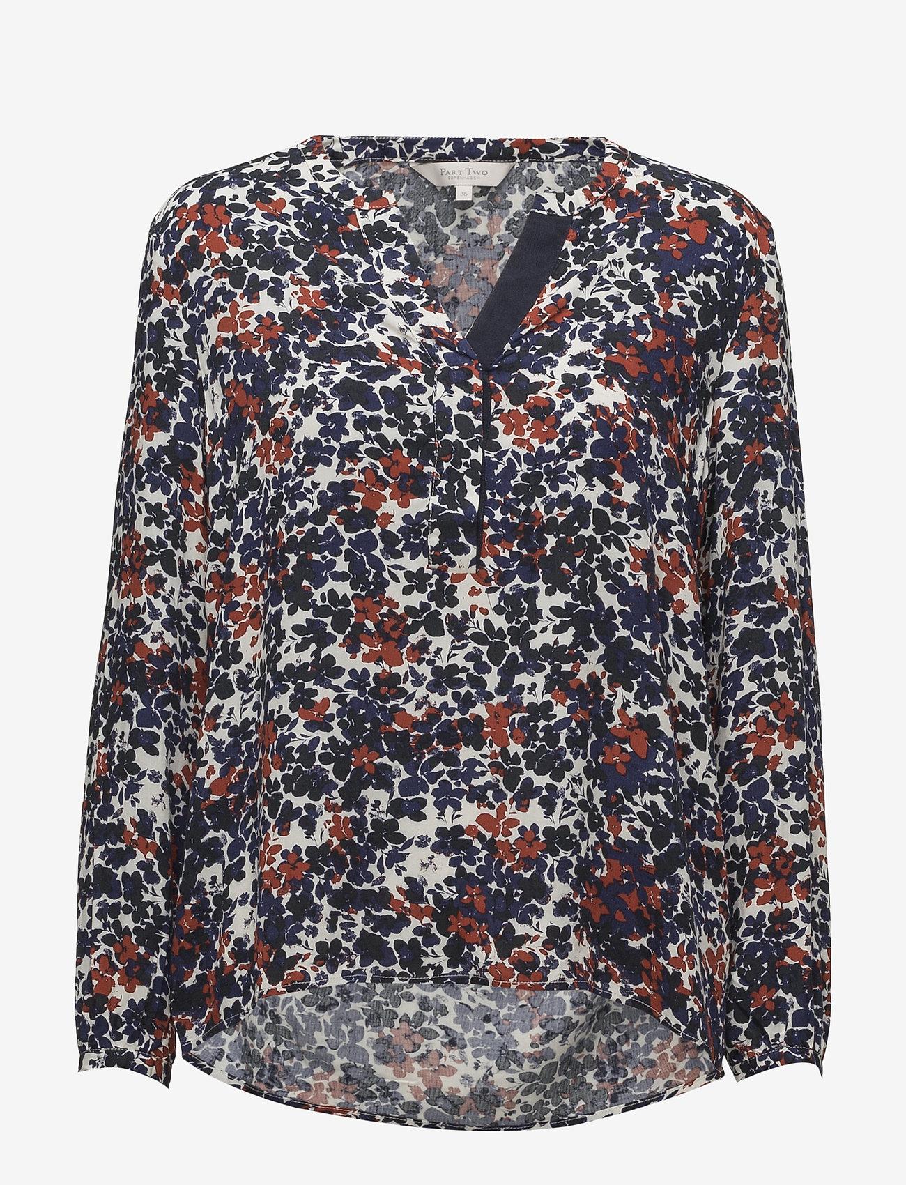 Part Two - Ilena BL - long sleeved blouses - artwork medium blue