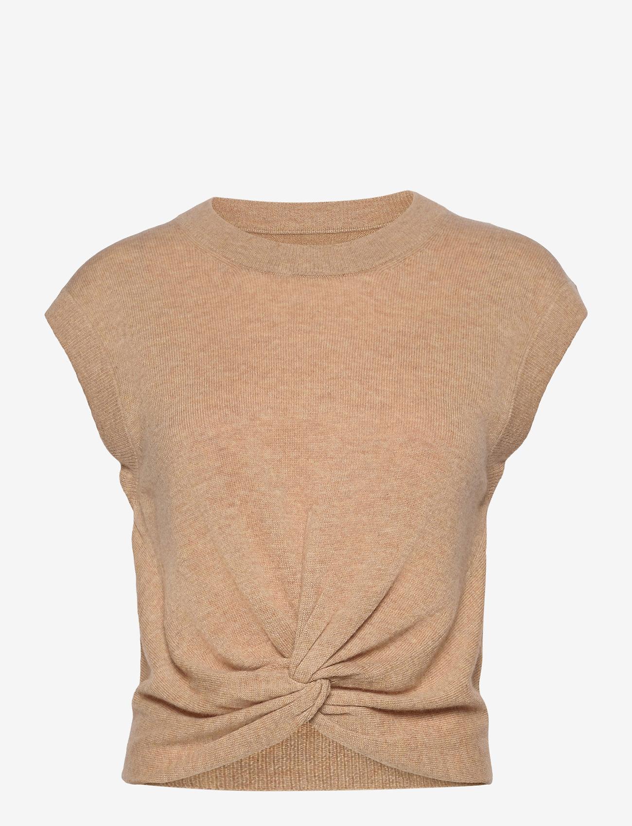Part Two - VavaraPW PU - knitted vests - dark camel melange - 0