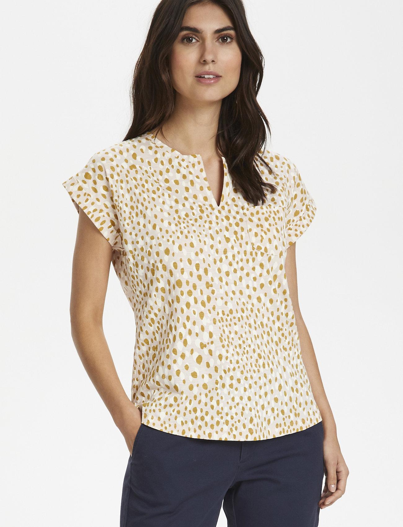 Part Two - KeditaPW TS - basic t-shirts - dot print, cream tan