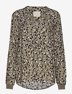 TonniePW BL - blouses à manches longues - leaf print, vetiver.
