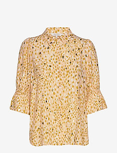 CaiasPW SH - blouses med lange mouwen - gold dot print, cream tan