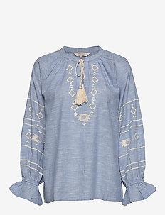 DendiePW BL - long sleeved blouses - dusky blue