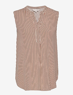 SarahPW TO - blouses sans manches - stripe, brown