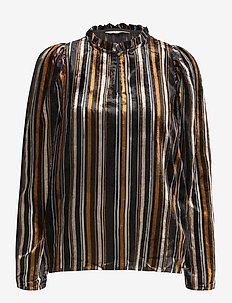 FuiaPW BL - blouses à manches longues - stripe burnout, black
