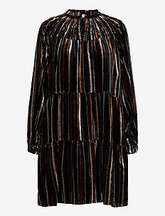 FrydPW DR - midi kjoler - stripe burnout, black