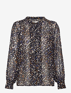 GanjaPW SH - blouses à manches longues - abstract leo print, navy