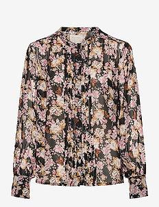 GanjaPW SH - långärmade blusar - winter rose print, black