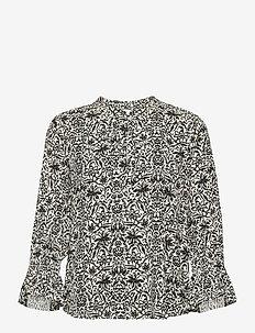GrittPW SH - blouses met lange mouwen - wallpaper scratch, parchment