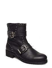 Silje leather wool - BLACK