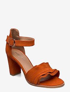 Silke wave - sandały na obcasie - orange suede