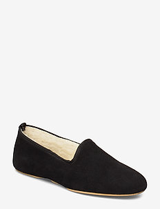 Aven home - slippers - black suede