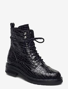 Charley croco - flat ankle boots - black croco