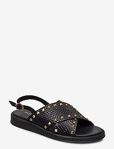Sigfrid - flade sandaler - black croco