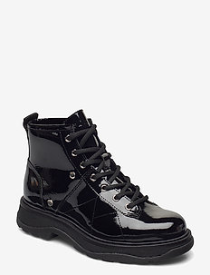 Freja - flade ankelstøvler - black patent