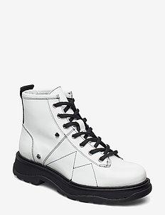 Freja - flade ankelstøvler - white patent