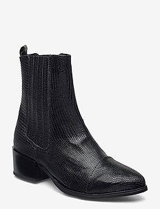 Julia Long Lizzard - ankelstøvler med hæl - black lizard