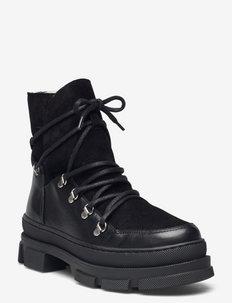 Kiara wool - platte enkellaarsjes - black