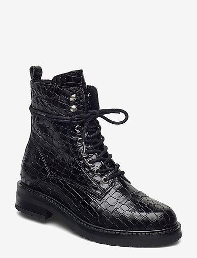 Charley croco - flade ankelstøvler - black croco