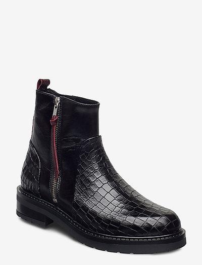 Heidi croco - flade ankelstøvler - black croco bordeaux