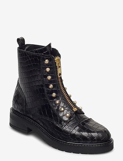 Valentina - flade ankelstøvler - black croco gold