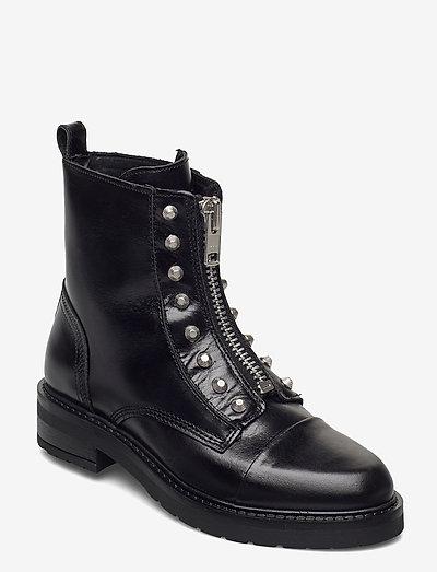 Valentina - flade ankelstøvler - black garda silver