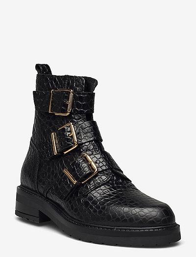 Lexi new - flade ankelstøvler - black croco gold