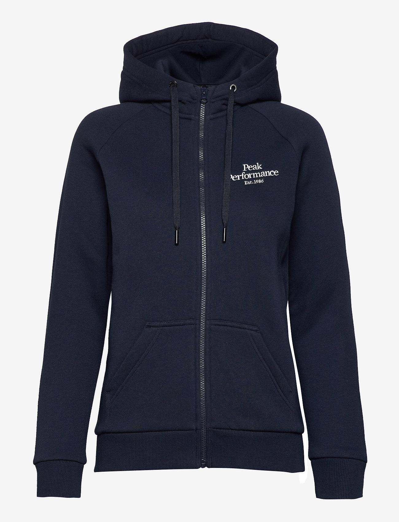 Peak Performance - W Original Zip Hood Med Grey Mel - hupparit - blue shadow - 0