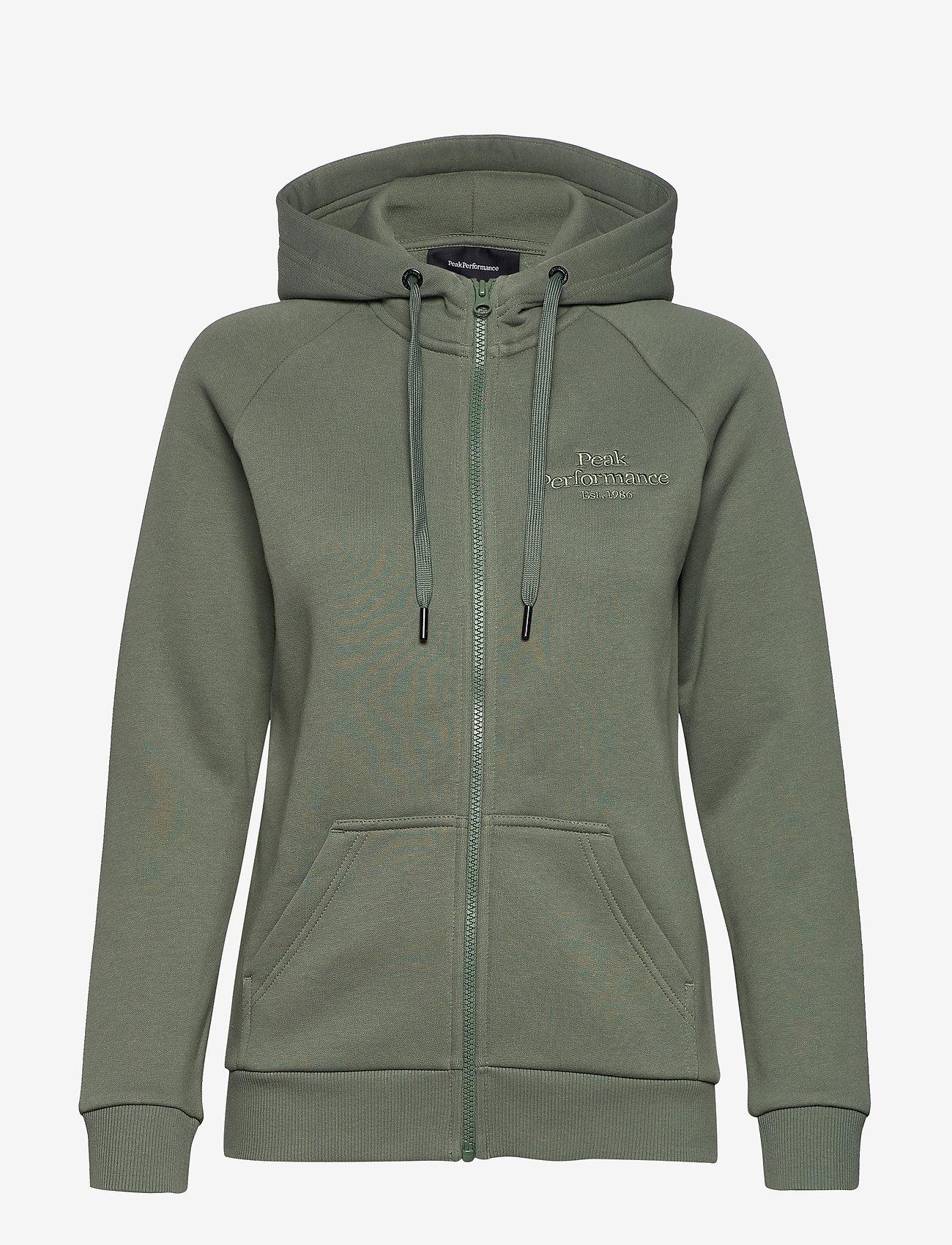 Peak Performance - W Original Zip Hood Med Grey Mel - hupparit - fells view - 0