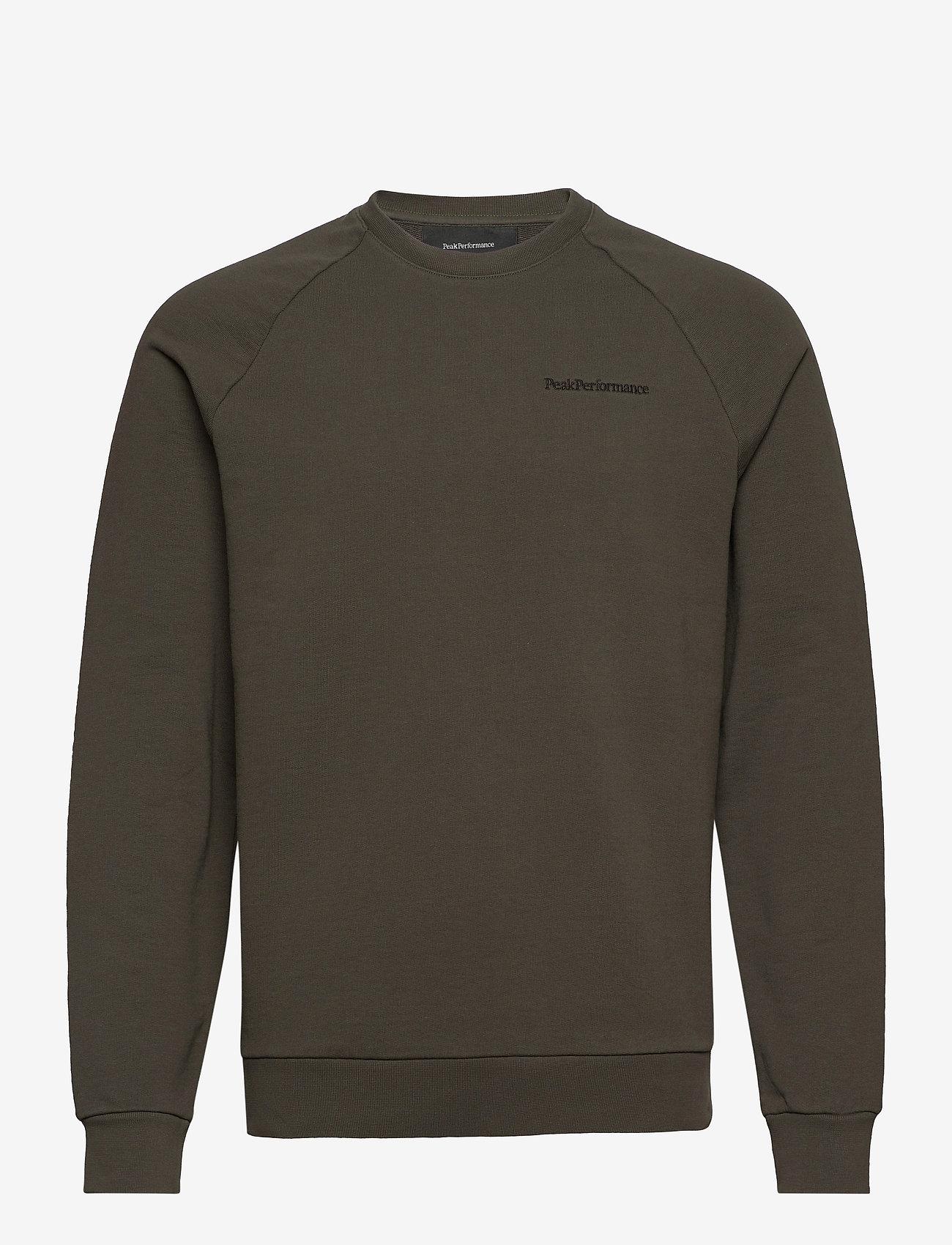 Peak Performance - M Moment Crew - sweaters - black olive - 0