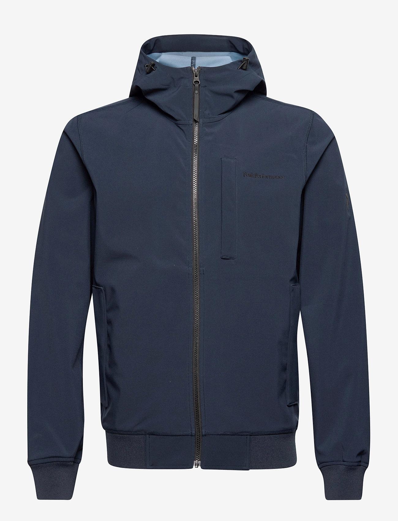 Peak Performance - M Softshell Hood Jacket - ulkoilu- & sadetakit - blue shadow   dark haze - 0