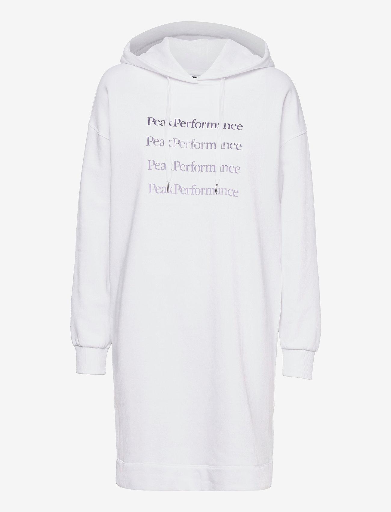 Peak Performance - W Ground Hood Dress - vapaa-ajan mekot - white - 0
