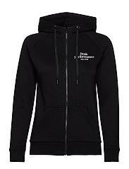 W Original Zip Hood Med Grey Mel - BLACK