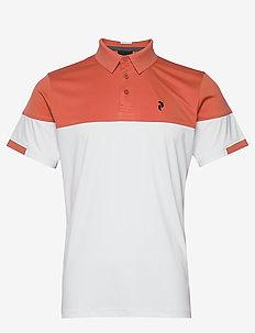Player Block Polo Men - koszulki polo - clay red