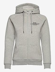W Original Zip Hood - hoodies - med grey melange