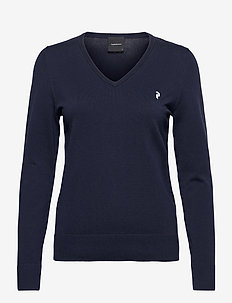 W Classic V-Neck - topjes met lange mouwen - blue shadow