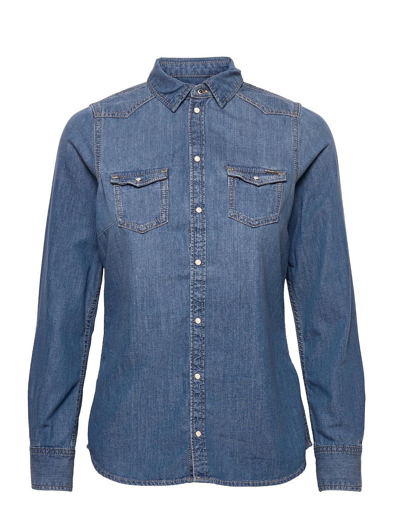 Rhonda Langærmet Skjorte Blå Pepe Jeans London