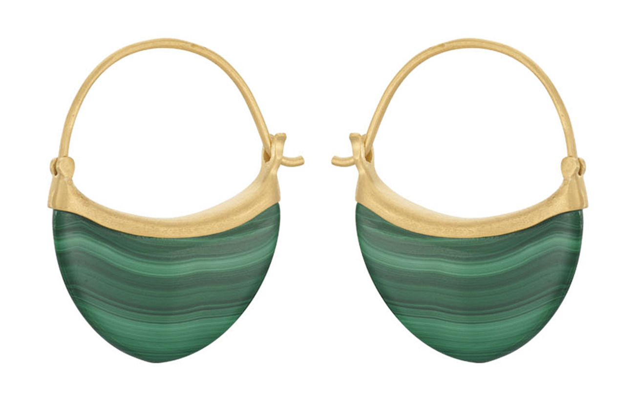 Pernille Corydon Small Malachite Earrings Size 22 mm - GOLD PLATED