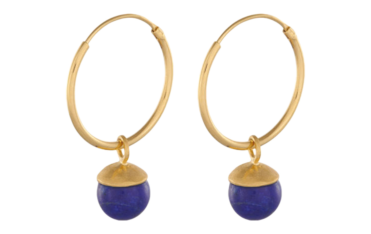 Pernille Corydon Lapis Lazuli Hoops size 18 mm - GOLD PLATED