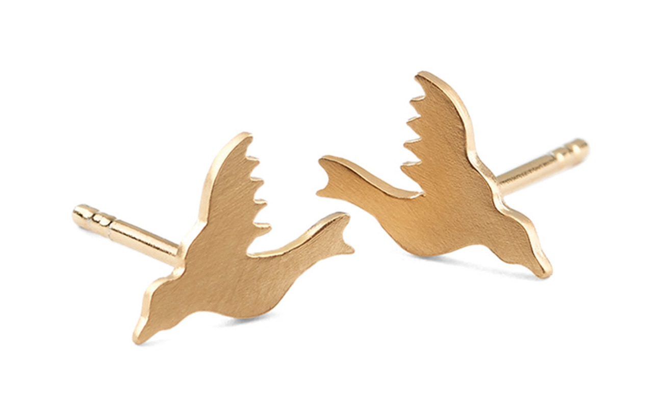 Pernille Corydon Hummingbird Earsticks size 8 mm - GOLD PLATED