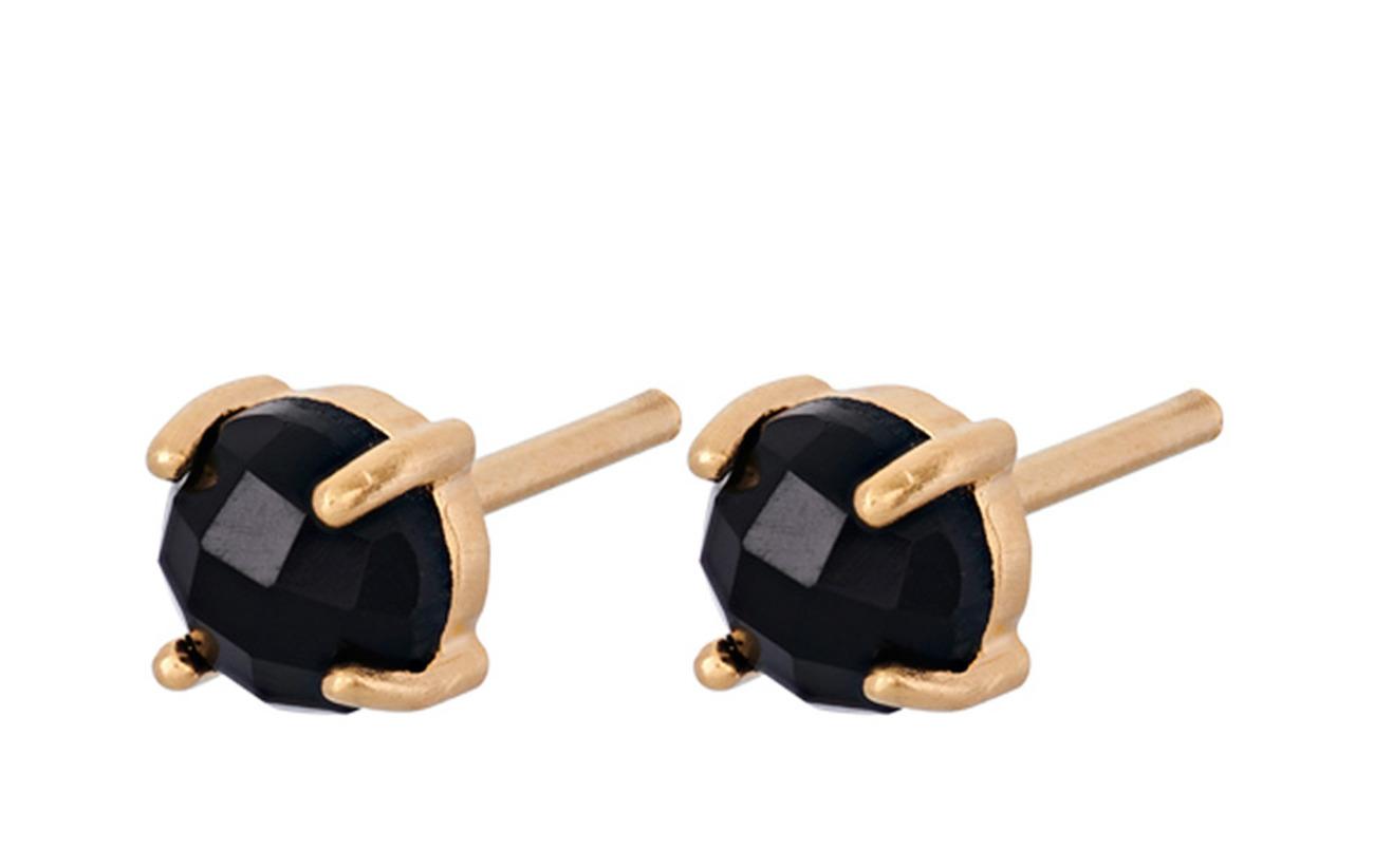 Pernille Corydon Lava Earsticks Black Onyx 5 mm - GOLD PLATED