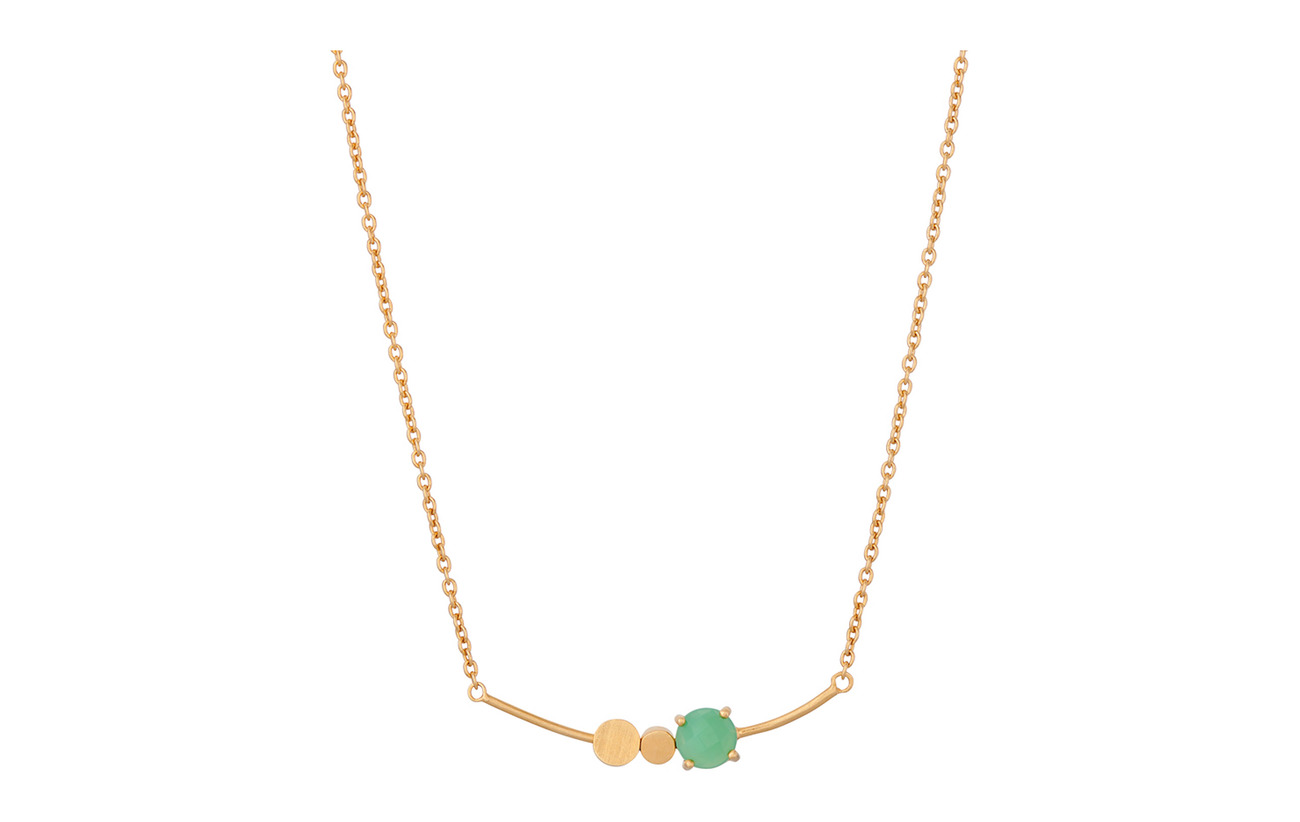 Pernille Corydon Moss Necklace Green 40-48 cm - GOLD PLATED