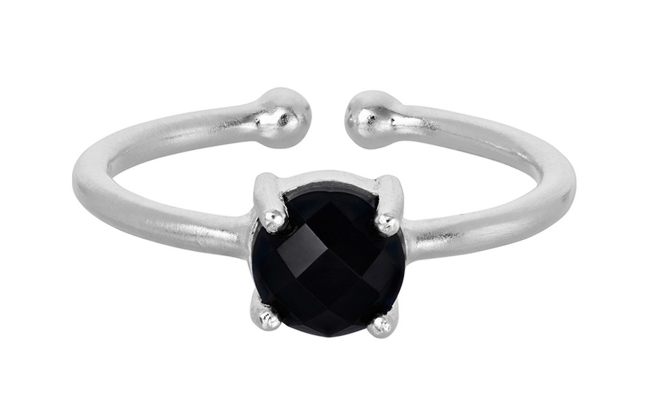 Pernille Corydon Lava Ring Black Onyx Adj. - SILVER