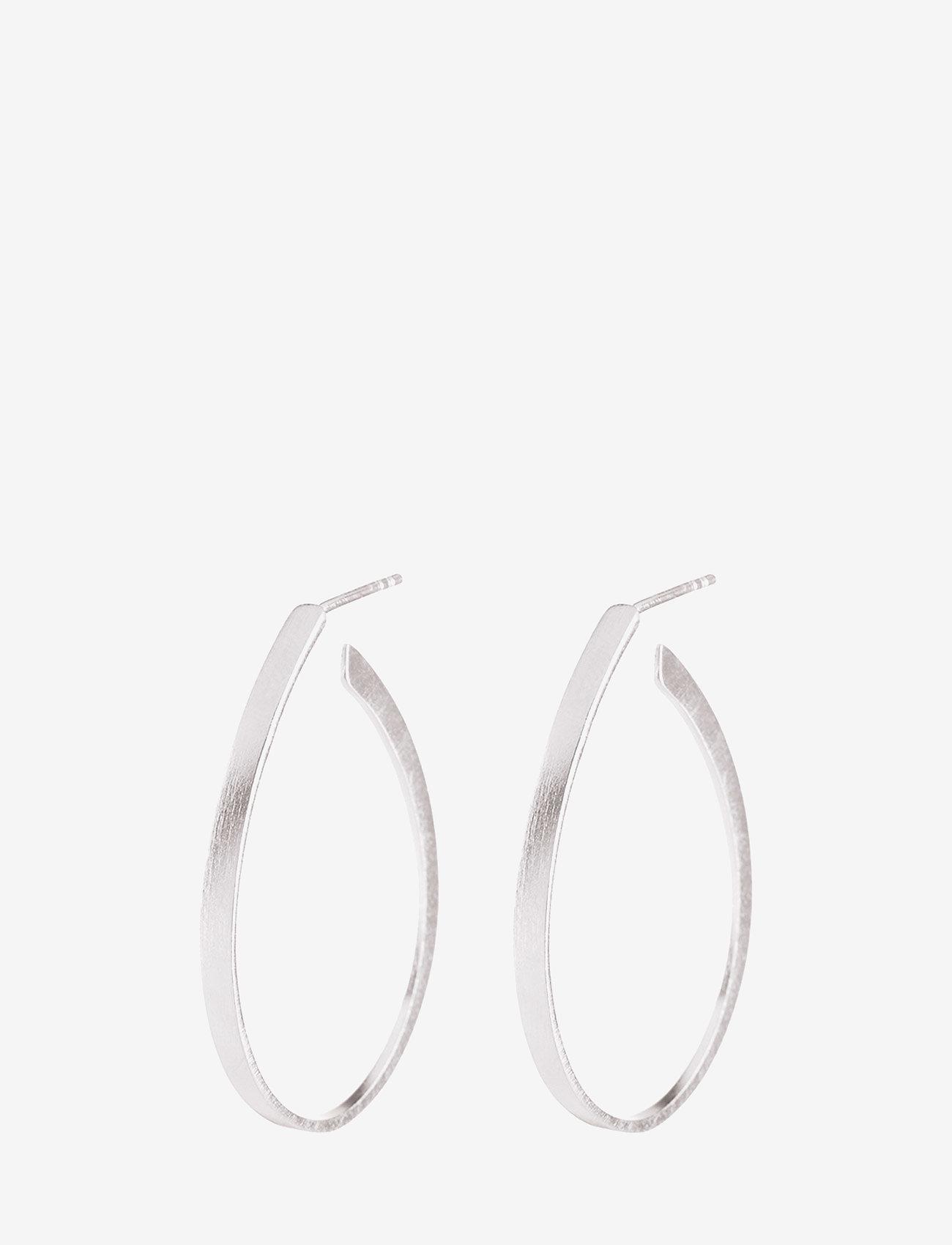 Pernille Corydon - Oval Creoles  size 35 mm - statement earrings - silver - 0