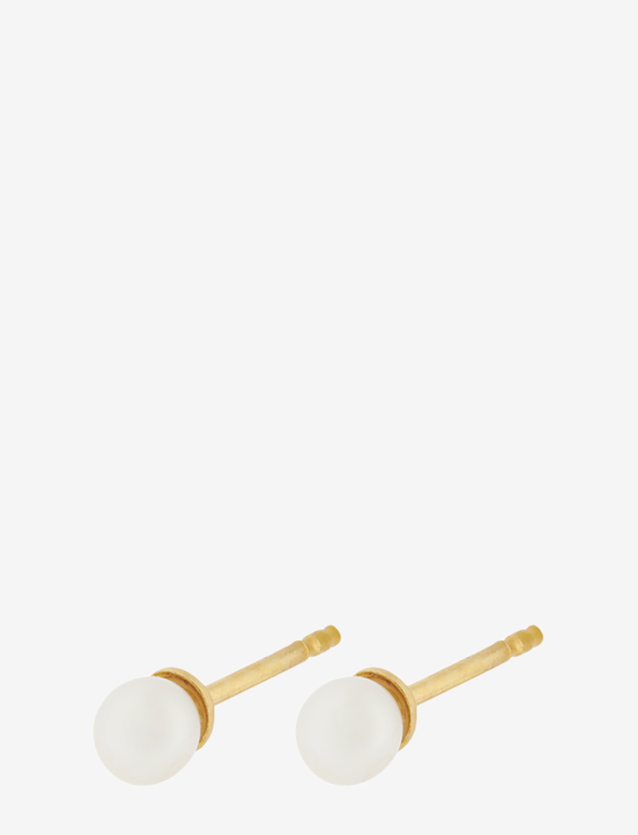 Pernille Corydon - Lagoon Earsticks -  Fresh water pearl 4 mm - studs - gold plated - 0