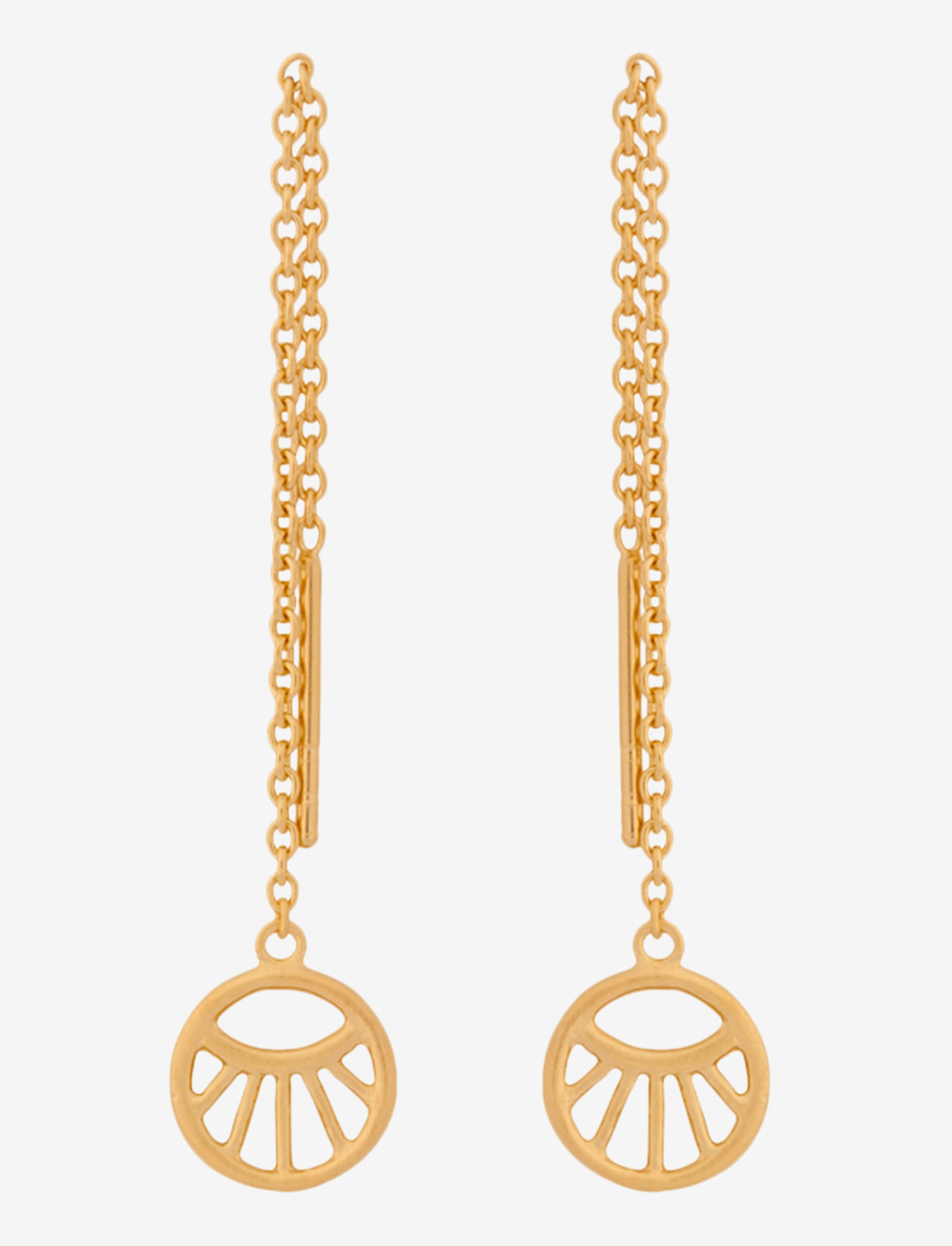 Pernille Corydon - Small Daylight Earchains Lenght 50 mm - hängande örhängen - gold plated - 0