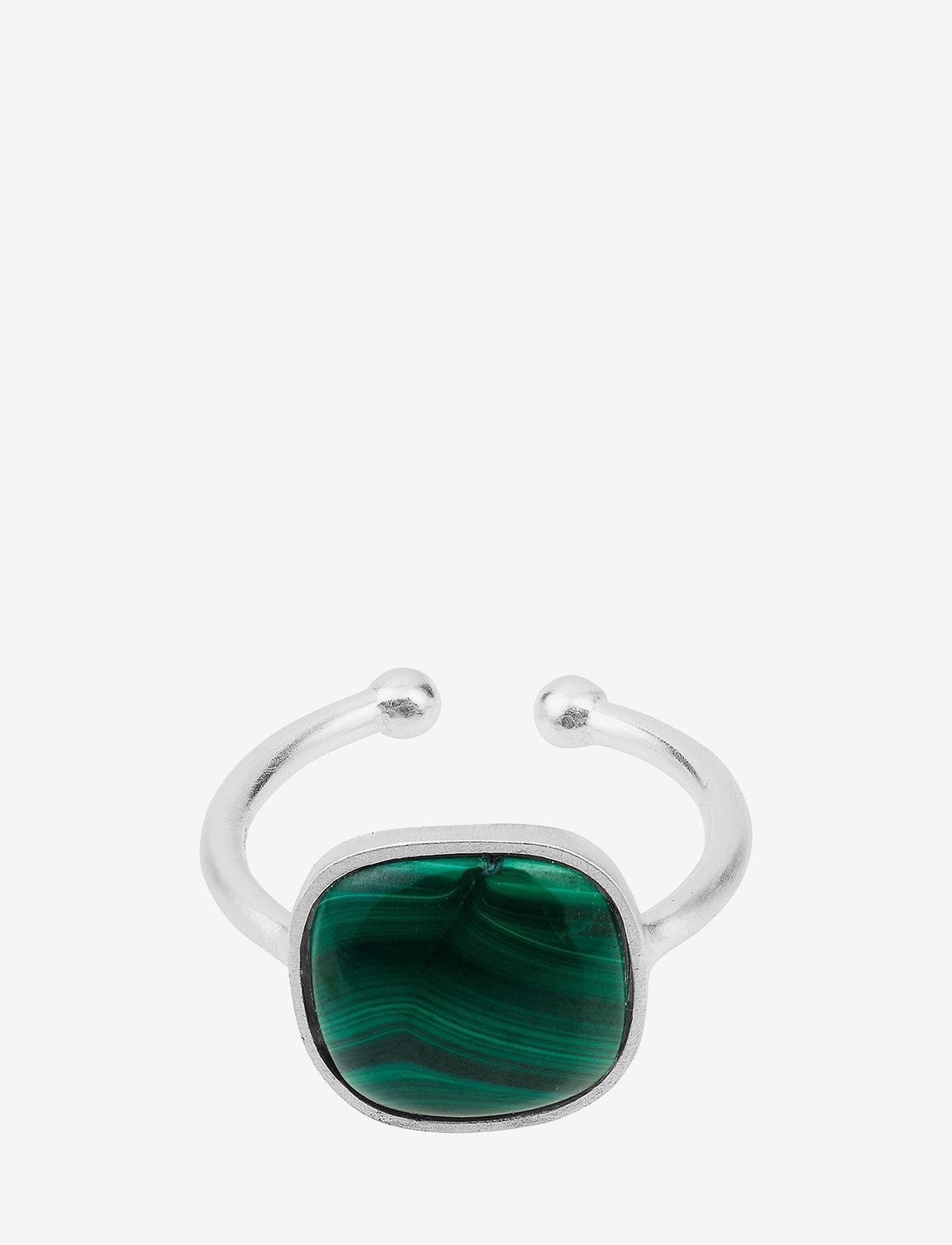 Pernille Corydon Malachite Ring  Adjustable - Biżuteria SILVER - Akcesoria