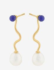Pernille Corydon - Lapis Lagoon Earrings 40 mm - hängande örhängen - gold plated - 0