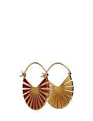 Flare Red Earrings Size 30 mm - GOLD PLATED